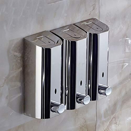 GOPG Wall Mounted Stainless Steel Three Chamber Soap Dispenser, Manual Rustproof Liquid Soap Dispenser for Shower Gel Shampoo Lotion Dispenser-B