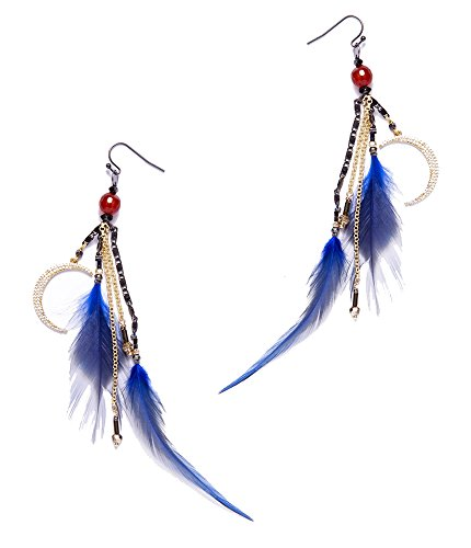 Nakamol Feather and Moon Charms Earrings in ()