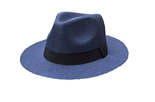Straw Fedora Classic (Wide Brim Paper Straw Fedora, Classic C Crown Panama Sun Hat with Grosgrain Band and Adjustable Drawstring (One Size Fits Most) (Navy))