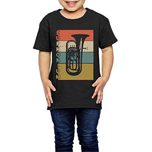 Vintage Euphonium 2-6 Years Old Boys & Girls Short Sleeve Tee Shirt Black