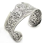 Wide Flower Design Embossed Sterling Silver Cuff Bracelet
