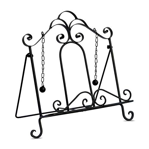 Gastro Chic Cook Book Stand, Artisinal Design, Weighted Drop Chain Page Holders, Iconic Scroll Work Details, Easel Back, 12 1/2 Inches Tall