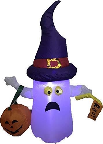 H En M Halloween (M&H 4 Foot Ghost with Purple Hat White with Pumpkin Boo! Yard Art)