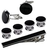 Cufflinks and Studs Set for Tuxedo in Formal Black with Silver Trimming