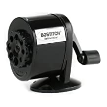 Stanley Bostitch All Metal Antimicrobial 8-hole Manual Pencil Sharpener with Dual Cutters, Black (MPS1-BLK)