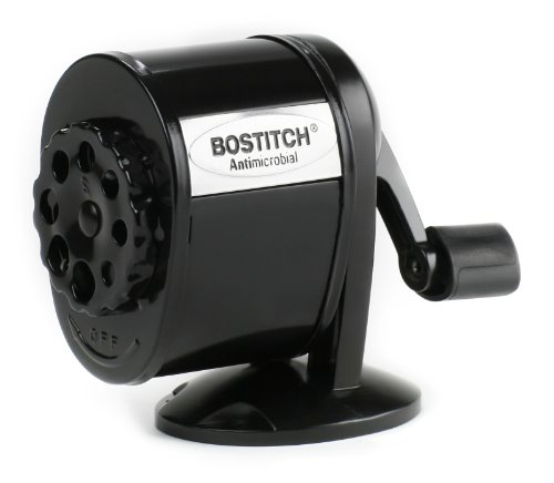 Bostitch Metal Antimicrobial Manual Pencil Sharpener, Black (Manual Pencil Sharpener)