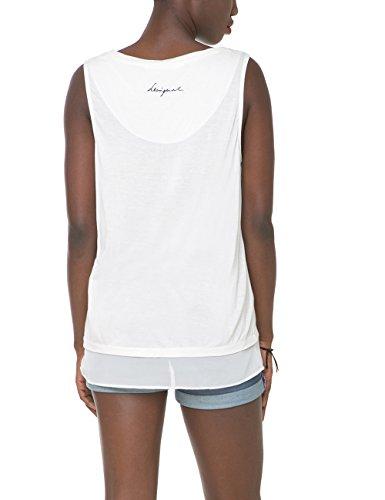 Desigual Carola, Camiseta para Mujer Blanco (TIZA 1010)