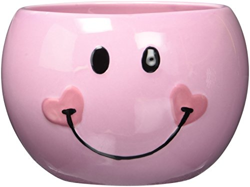 (Pink Smiley Happy Face Candy Dish/Planter with Heart )
