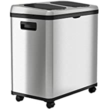 iTouchless Stainless Steel Trash Can/Recycler, Automatic Sensor Touchless Lid, Dual-Compartment (8 Gal each) – 16 Gal/61 L