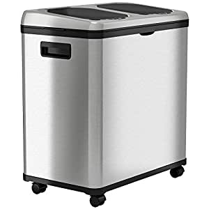 itouchless stainless steel trash can recycler automatic sensor touchless lid. Black Bedroom Furniture Sets. Home Design Ideas