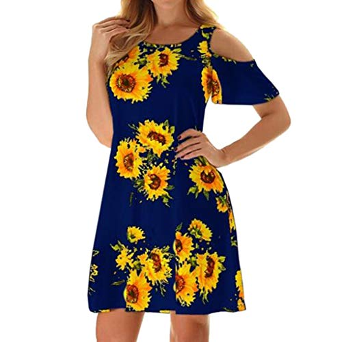 Striped Belted Shirt Dress - Chaofanjiancai_Dress Women's Cold Shoulder Dress Floral Print Sundress T-Shirt Dress for Summer with Pockets Loose Casual Mini Dress (S, Navy07)