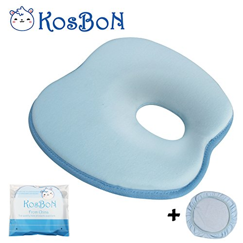KSB 9 Inches Blue Soft Memory Foam Baby Pillow Head Positioner Neck Support,Prevent Flat Head Syndrome For 3 Months To 1 Year Old Infant (Apple Shape,Includes Pillow Case).