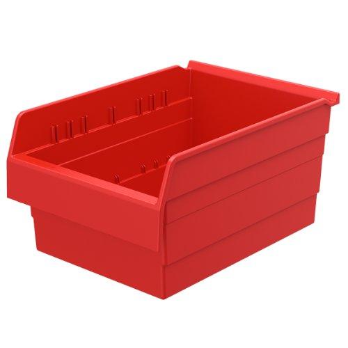 Akro-Mils 30806 ShelfMax 8 Plastic Nesting Shelf Bin Box, 16-Inch x 11-Inch x 8-Inch, Red, 4-Pack by Akro-Mils