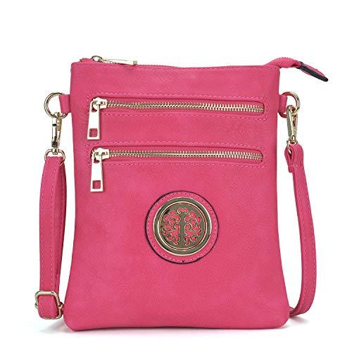 - Women Functional Small Multi Pocket Crossbody Purse Bag Double Zipper Purse (02 Small Size- Fuchsia)