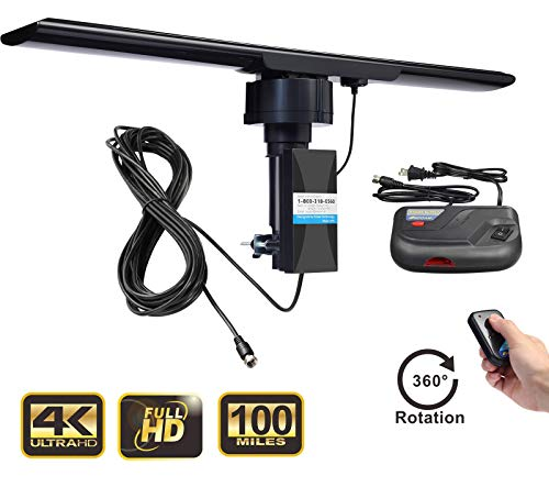 UHF/VHF/FM Amplified HDTV Outdoor TV Antenna 150 Miles Long Range and 360 Degree Rotation and Infrared Remote Control