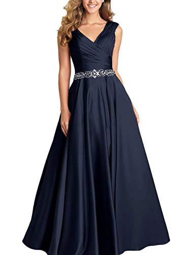 Beading A-line Formal Evening Dress Maxi Bridesmaid Gown Sleeveless Navy Blue Size 10