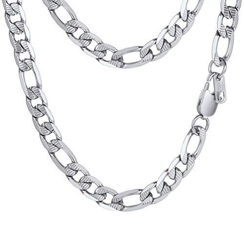 PROSTEEL Stainless Steel Figaro Chain Necklace Vintage Link Layering Layered Necklace Gift Women Men Jewelry