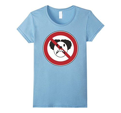 [Womens No Scary Clown Costumes Funny T-Shirt For Men Women and Kids Large Baby Blue] (Jokers Girlfriend Costume)