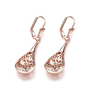 Naivo Rose Gold Filigree Teardrop Leverback Earrings