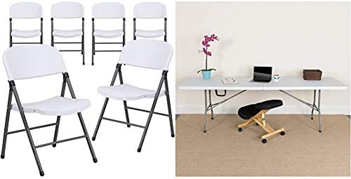 Flash Furniture 6-DAD-YCD-50-WH-GG 6 Pk. HERCULES Series 330 lb. Capacity Granite White Plastic Folding Chair with Charcoal Frame 8-Foot Bi-Fold Granite White Plastic Banquet and Event Folding Table