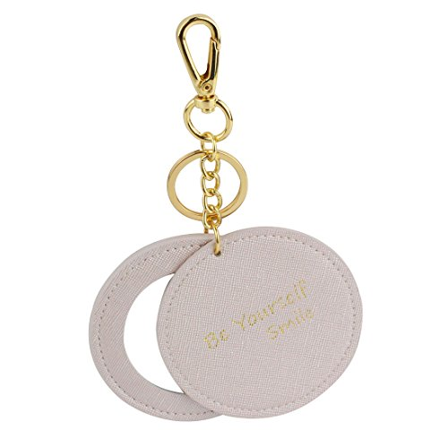 Girls Champagne Silver Swivel mirror keychain,handbag charming mirror keychain,Compact mirror bag accessory key fob,round mirror keyring,dia 3.15