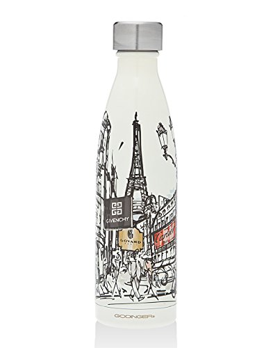 Godinger Paris Water Bottle – Perfect Paris Souvenir Travel Water Bottle, With Imprinted Brands on it, Insulated Leak-proof Double Walled Stainless Steel, Keeps Your Drink Hot & Cold | 17 Oz