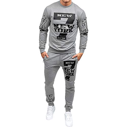 Realdo Men's 2Pcs Casual Print Letter New York Sweat Sets Sports Suit Tracksuit(X-Large,Grey) (Tracksuit Logo)