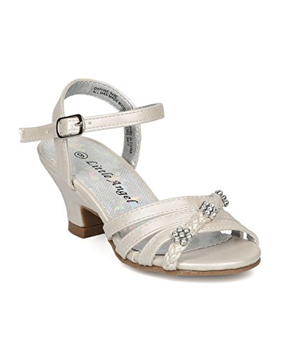 Ivory New Sandals Shoes (Girls Ankle Strap Kiddie Heel Sandal (Toddler/Little/Big Girl) - Rhinestone Flower Kids Dress - Dressy Dance Event - HC28 by Little Angel Collection - Ivory Leatherette (Size: Little Kid 11))