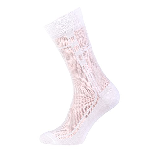 5-pack Men's Ultra thin Breathable Cotton Dress Socks White, Large