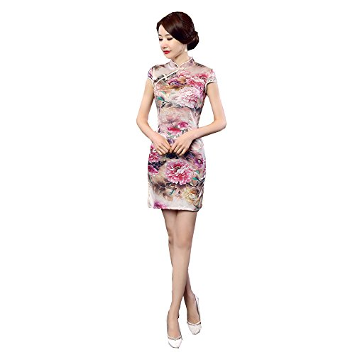 ACVIP Women's Chinese Patterned Bodycon Party Mini Dress XS-M 6 Colors (8-10, (Patterned Silk Dress)