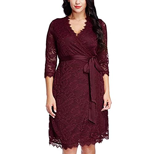Grapent Womens Plus Size Red Floral Lace 3/4 Sleeves Formal True Wrap Dress Cocktail 2X