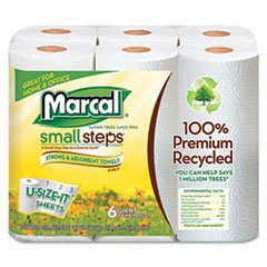 ** 100% Premium Recycled Giant Roll Towels, 5-3/4'' x 11'', 140/Roll, 6/Pack **