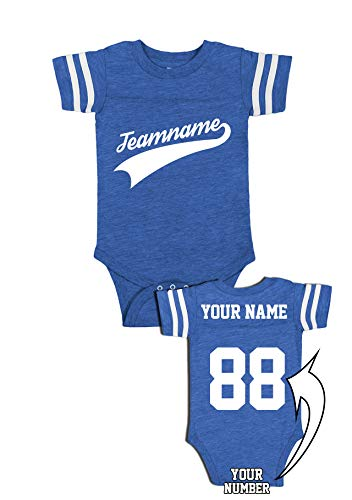 - Custom Cotton Outfits for Babies - Baseball Add Your Name Number Team Apparel Baby One-Piece Suits & Jerseys