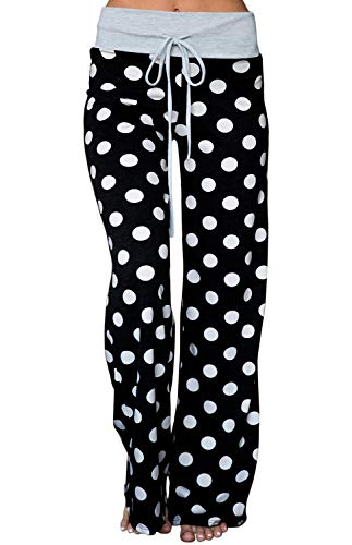 AMiERY Womens High Waisted Pants Soft Stretch Sleep Polka Dot Juniors Pants Pajamas Bottoms Wide Leg Pants Joggers Lounge Palazzo Pants Black M