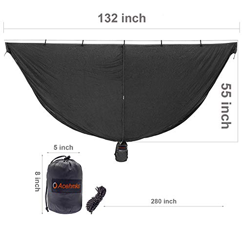 Acehmks Hammock Bug Net - 10.4' Hammock Mosquito Net Fits All Camping Hammocks. Compact, Lightweight. Fast Easy Setup.Security from Bugs and Mosquitoes.Fits All Hammocks.10.4' L x 4.5' W (Black)