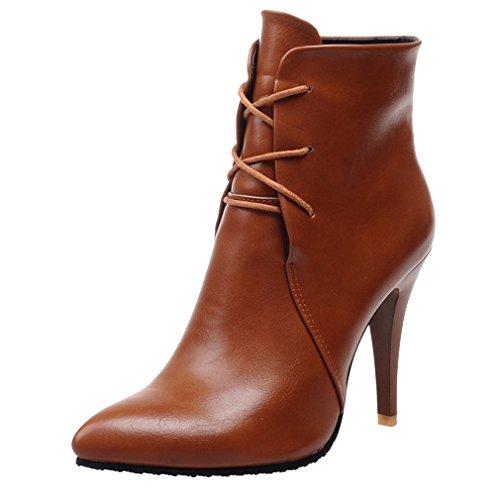 ENMAYER Mujeres Cerrado dedo del pie Acentuado Botas Material Suave del Tobillo Marrón