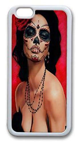 Amazing Hard Plastic iPhone 6 case, Ruyue Shop-Skull Face Painting Woman-01-iPhone 6 case