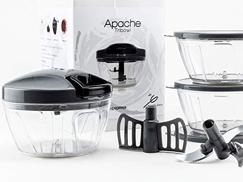 Tribowl Apache, Tri Bowl Manual Hand Powered Food chopper, mincer processor, Pull Cord Crank Chop for quick Salsa, Veggie, Onion, Garlic, Meat, Nut and Vegetable salad with lids & blender attachment