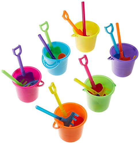 Fun Express Beach Play Sets - 12 Buckets, Shovels, Rakes, and Scoops (Mini Bucket Set)