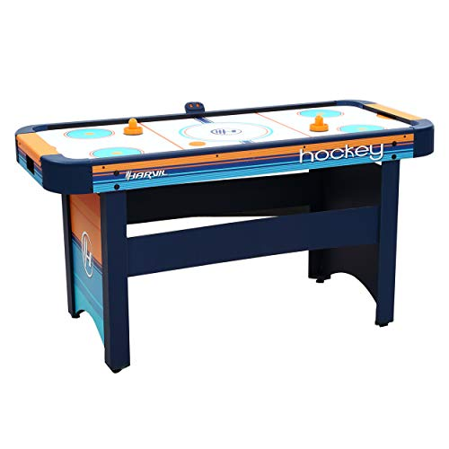 - Harvil 5 Foot Air Hockey Table for Kids and Adults with Dual Electric Blowers, Leg Levelers and Free Pushers and Pucks.