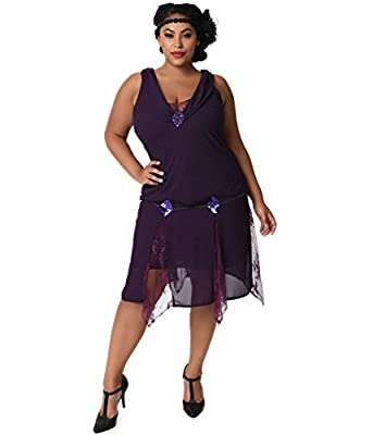 Unique Vintage Plus Size 1920s Style Dark Purple Hemingway Flapper Dress