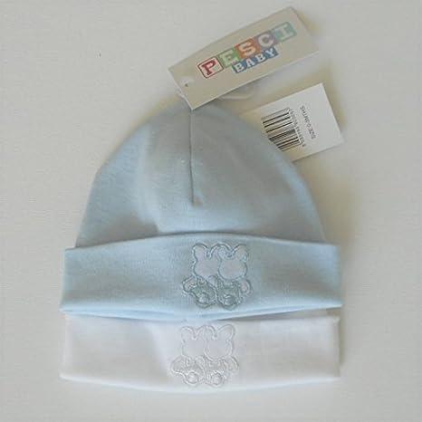 2 gorros de nacimiento para bebe 0 – 3 meses Algodón Azul y blanco con diseño de conejo: Amazon.es: Bebé