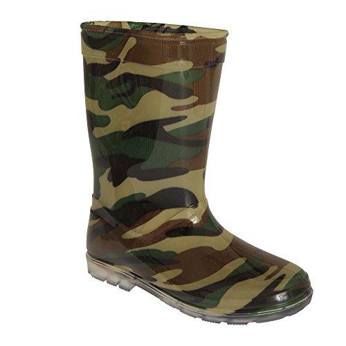 Mudrocks Childrens Boys Camo Pattern PVC Wellington Boots (11 Child US) (Green) ()