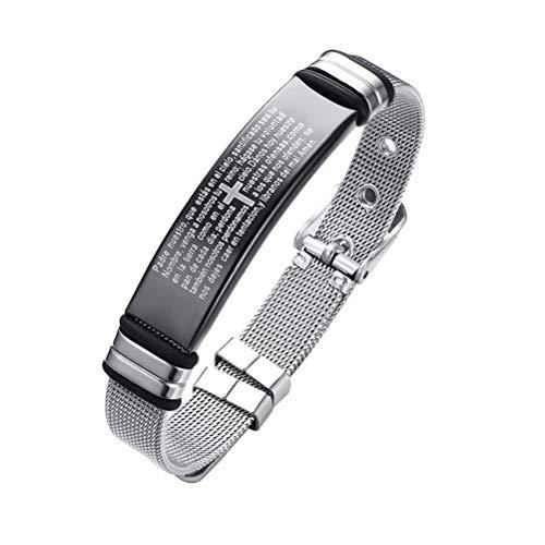 FENICAL Christian Bracelet Titanium Steel Religious Quote Spanish Pattern Faith Christian Bible Verse Inspirational Cross Bracelet