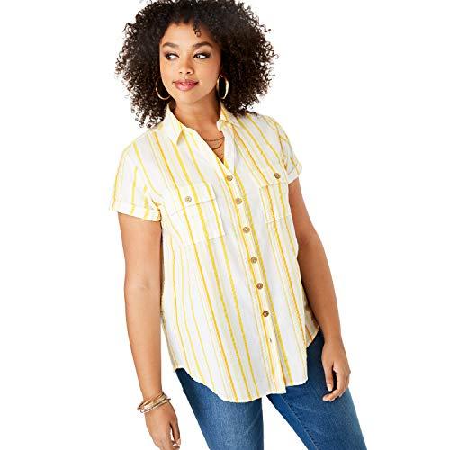 Roamans Women's Plus Size Seersucker Shirt - Yellow Stripe, 28 W