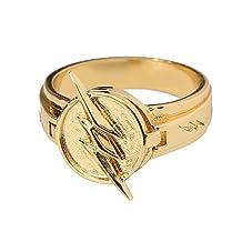 The Reverse Flash Ring Size 10 Zinc Alloy Golden Lightning Logo Cosplay Prop Xcoser