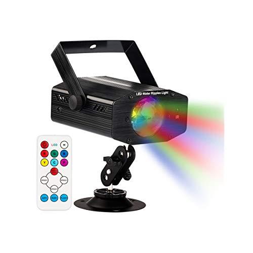 GUSODOR Luz de Escenario 7 Colores Mini Luz de Escenario Efecto Onda de Agua con Control Remoto Disco de Luz DJ Disco…