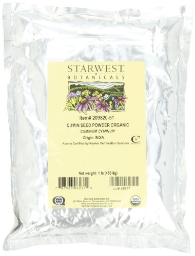 Starwest Botanicals Organic Ground Cumin Seed Powder, 1 Pound Bulk Spice - Bulk Program