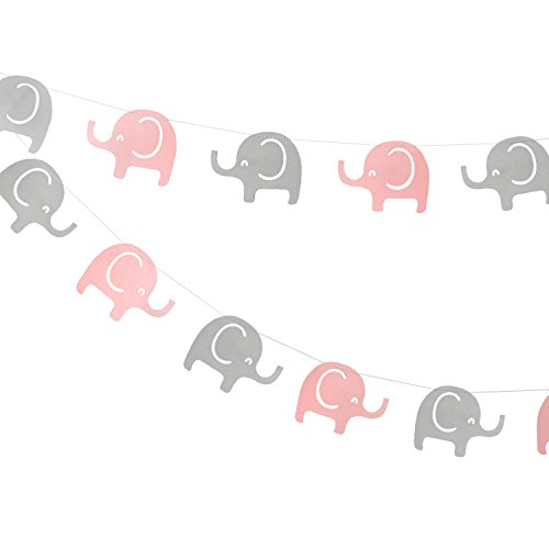 Elephant Garland Decorations, Elephant Baby Shower Banner, Girl Elephant Banner (Pink, Gray) 10 Feet ()