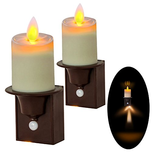Pack of 2 PIR Motion Sensor Night Lights, Dancing Flame Candle Design Wall Sconce, AAA Battery Operated(Not Included), Outstanding Solution for Stairwell, Hallway, Bathroom (Candle Sensor)